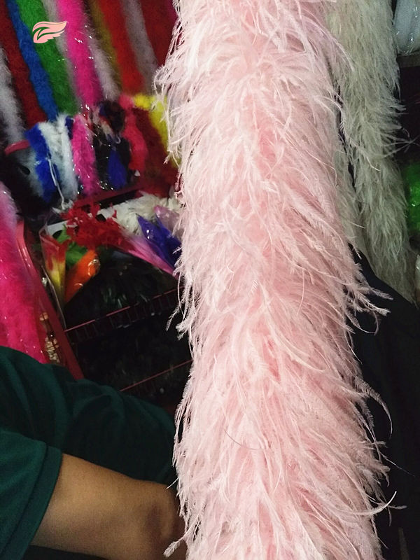 Hot 2m long high quality 6-layer Pink ostrich feather boa for wedding carnival dress decorations / shawls / crafts