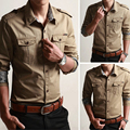 Envío Libre Algodón de manga Larga camisas para Hombre de manga larga Más Tamaño Uniforme Militar Camisa Suelta de Algodón Acolchado Camisetas del ejército