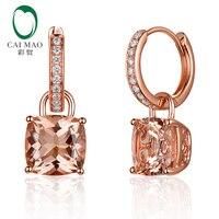 CaiMao Jewelry 4.31ctw Cushion Morganite Diamond Real 14K Rose Gold Drop Dangle Earrings