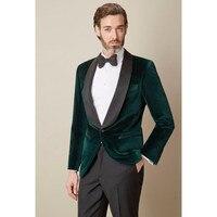 Dark Green Velvet 2017 New Men Suit Jacket Pants Bespoke Shawl Laple Wedding Prom Men Suits Fashion Groom Tuxedos (Jacket+Pants)