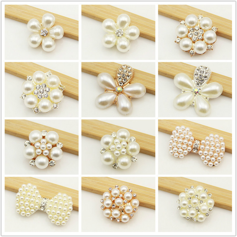 5 Pcs Pearl Rhinestone Flower Bows Gold Silver Charms For Jewelry Making Supplies Diy Hand Made Hair Accessories Materials