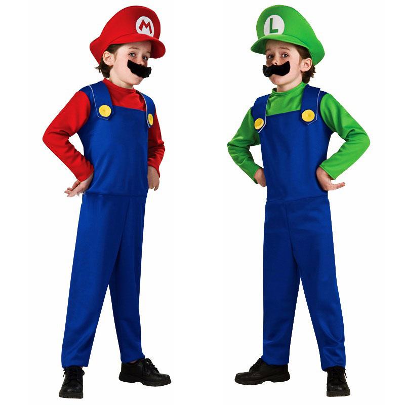 Halloween Costumes Funny Super Mario Luigi Brother Costume for Kids Children Boys Girls Fantasia Infantil Cosplay Jumpsuit