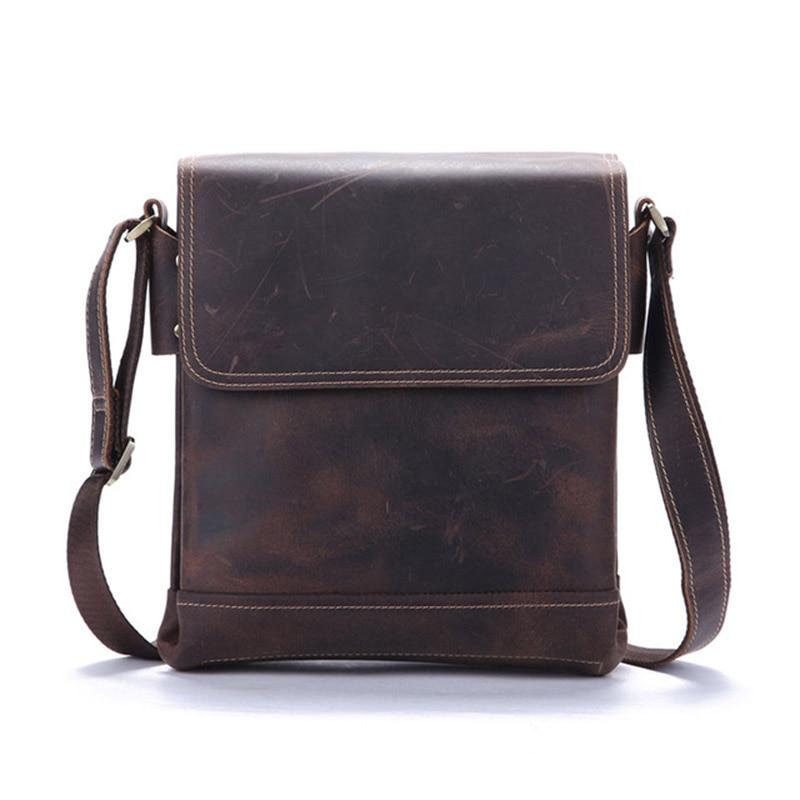 Neweekend Genuine Leather Messenger Bag For Men Briefcase Crazy Horse Men's Shoulder Crossbody Handbag Bag Casual Flap Male Tote