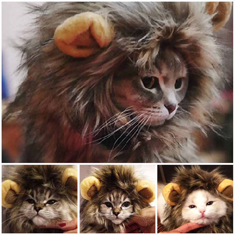 Furry Pet Hat Costume Lion Mane Wig For Cat Halloween Fancy Dress Up With Ears Party Home Drop Shipping