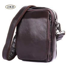 J.M.D Genuine Leather New Style Fashion Men's High Quality Chocolate Color Shoulder Bag  Crossbody Bag Messenger Bag 1012Q augus genuine leather grey color new style multifunctional messenger bag crossbody bag men shoulder bag laptop bag 7065i