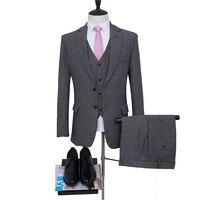 Harringbone Groom Tuxedos Gy man coat For Wedding Suits Groomsman Suit 2 Style Man Suit Tailor Suit Blazer Jacket +pants+vest