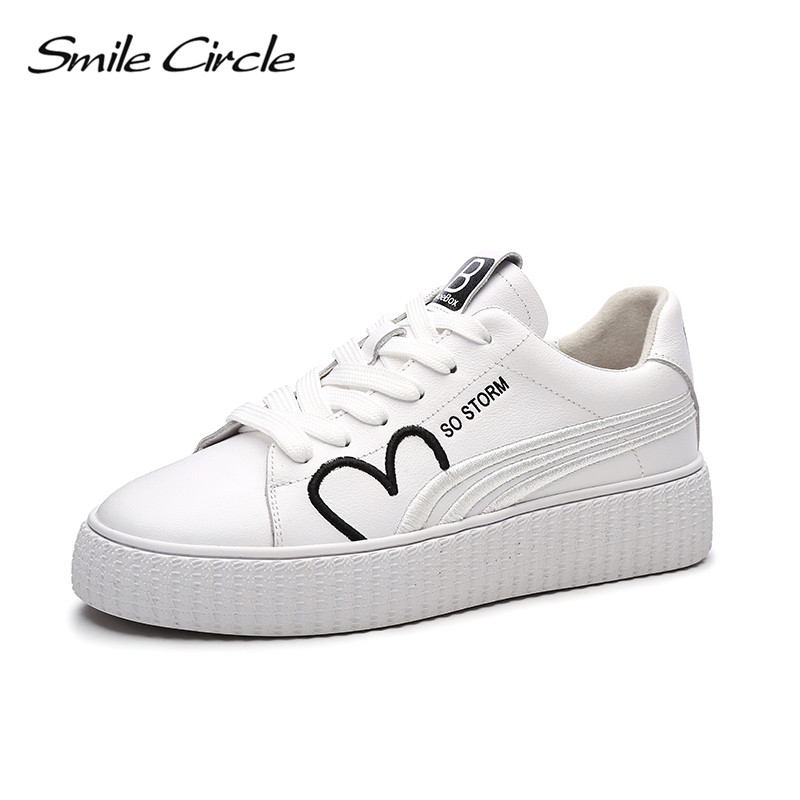 Smile Circle 2018 Spring Genuine Leather Sneakers Women Fashion Embroidery Lace-up Flat Platform Shoes Girl White Casual Shoes