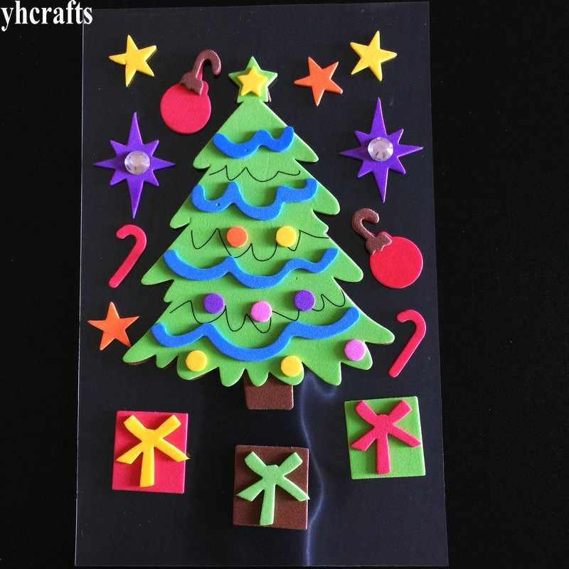 1 worek/partia, urocze choinki bożonarodzeniowe santa Snowman 3D naklejki piankowe boże narodzenie dekoracja wnętrz okna naklejki na lodówkę prezenty przysługę zabawki rzemiosła