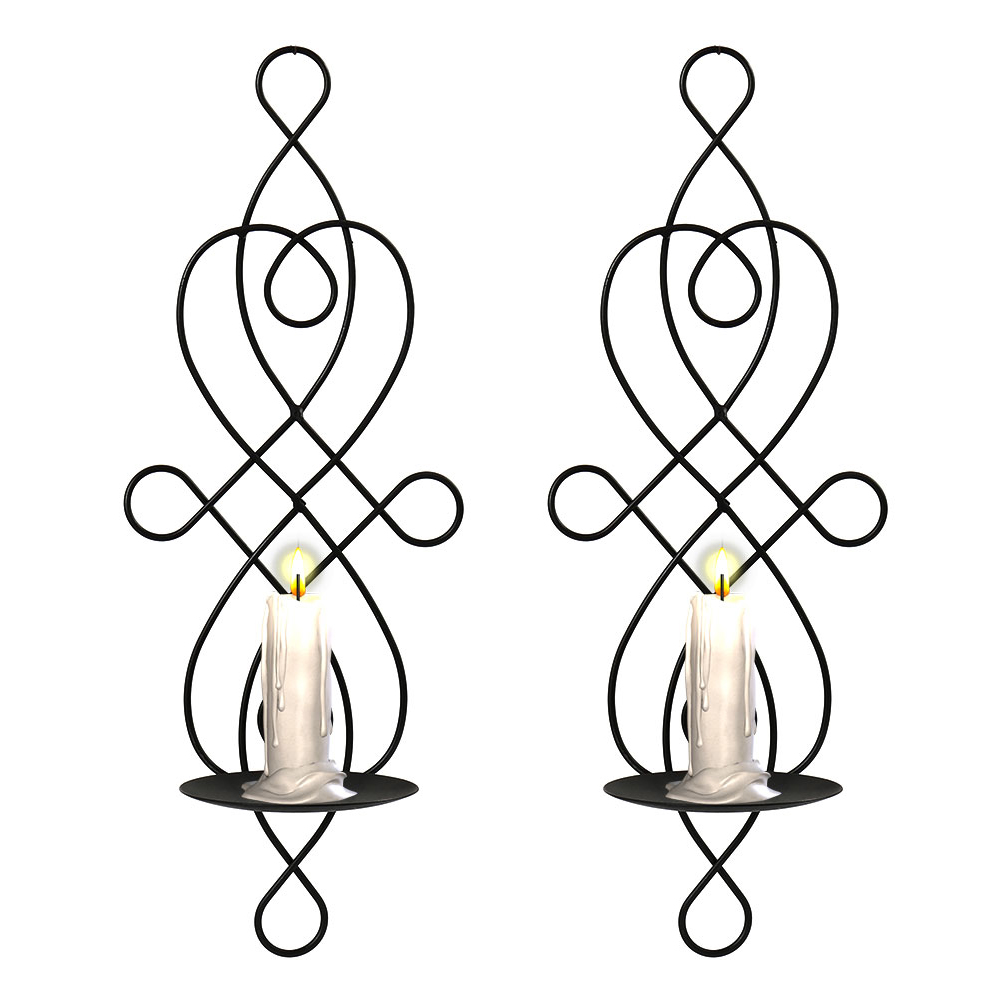 2 Pcs Wall Candle Holders Creative Wedding Decoration Hanging Candle Holder Stand Iron Sconce Home Living Room Decor line art