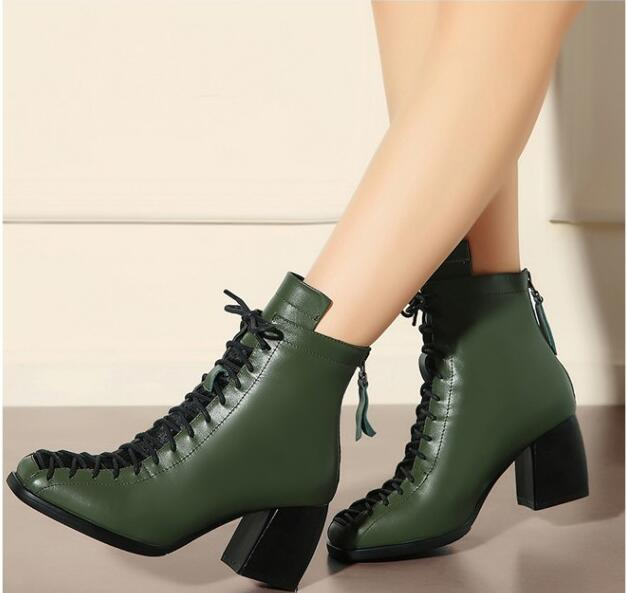Top quality women Spring Autumn ankle boots high thick heels square toe lace-up decoration plush lining army-green black boots women patent leather lace up short plush thick warm ankle boots low heels fashion round toe no plush spring autumn boots 0221