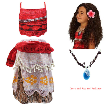 Princess Moana Cosplay Costume for Kids dress Costume with Necklace