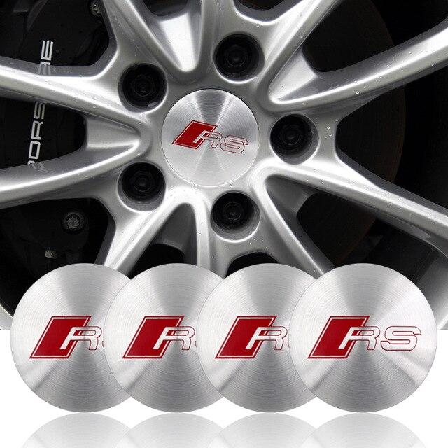 4pcs RS S Line Wheel Center Cover Badge Gloss Silver Hub Cap Emblem S LINE RS 7 SPORTBACK for audi Sline A1 A3 A4 car styling