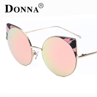 Donna Fashion Brand Oversized Frame Cat Eye Sunglasses Women Silver Mirror Bent Leg Big Frame Sun