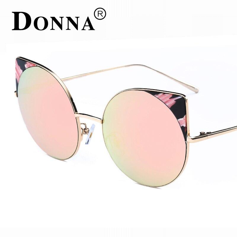 2e1e43b945 Donna oversized gato ojo Gafas de sol mujeres espejo redondo oro rosa  Marcos oversized espejo Sol mujer moda HD lente Gafas D22 en Gafas de sol  de ...