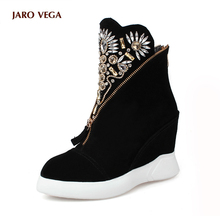 JaroVega Women's Genuine Wedge Platform Rhinestone Fashion Ankle Boots Comfort Winter Front Zip Short Booties Female Footwear