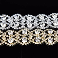 100Yards Rhinestone Beaded Iron On Applique Trim Bridal Dress Belt Embellishment Decor