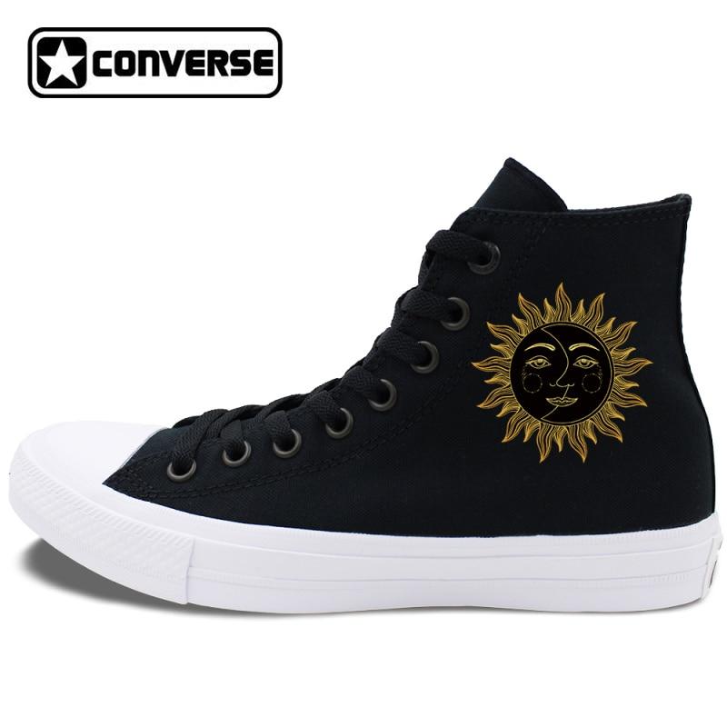 Prix pour Personnalisé conception soleil lune visage converse chuck taylor ii chaussures de skate pour homme femme d'origine high top toile sneakers