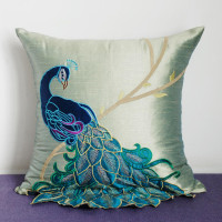 Luxury handmade peacock cushion Faux Silk Decorative Embroidery cushion cover pillow cover Home Decor Sofa free shipping