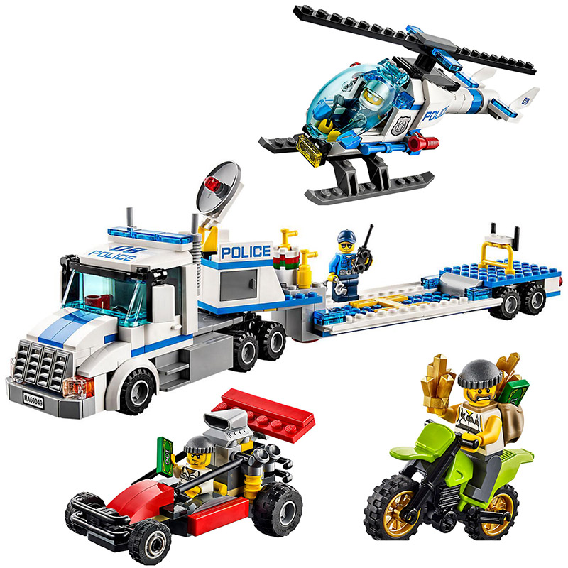 Urban City Police Force Helicopter Truck Building Blocks bricks construction Toys Compatible With Lego City 60049 free shipping 528pcs 10423 urban police helicopter surveillance building blocks kids educational bricks gift toys compatible lepin city 60046