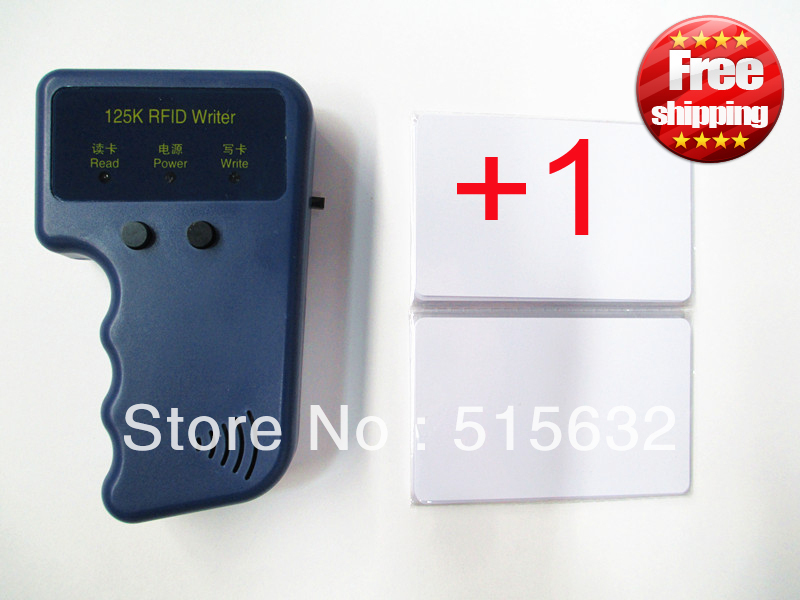 New English edition Hand-hold RFID Reader Writer 125KHz ID Card Keyfob duplicator Duplicate Copy + 1 pcs EM4305 125Khz card id card 125khz rfid reader