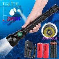 XLamp XHP70.2 Profissional LED Underwater Scuba Diving Flashlight Torch 200m XHP70 IPX8 uso Da Lâmpada 26650 Bateria Mergulho À Prova D' Água