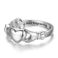 Crown Shaped Claddagh Rings With Name Engraved