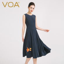 VOA2016 new European pure sleeveless T-shirt embroidered black silk dress slim great long skirt womanA6930