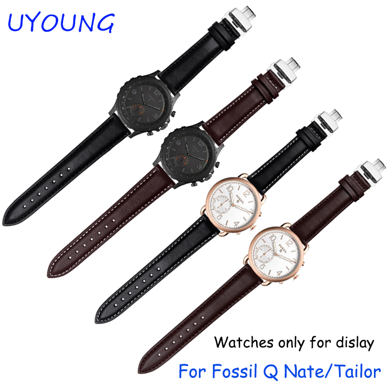 For Fossil Q Nate/Tailor quality genuine leather watchband 18mm replacement leather strap quick release smart bracelet fossil tailor es4121