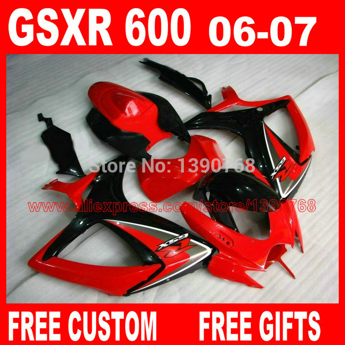 fairing body kits for SUZUKI K6 K7 gsxr600 gsxr750 2006 2007 red black fairings set GSXR600 06 GSXR750 07 X670 beibehang papel de parede 3d drag wallpaper for walls decor embossed 3d wall paper roll bedroom living room sofa tv background