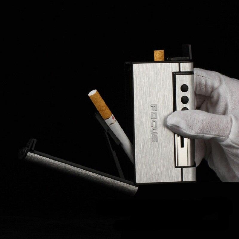 1 pcs De Luxe En Aluminium Cigarette Boîte Avec Coupe-Vent Léger Tabac 8 pcs Cigarettes Creative Automatique Étui à Cigarettes Briquet 007