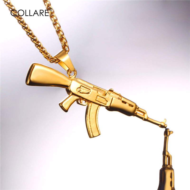 Collare AK47 Rifle GUN Pendant 316L Stainless Steel Gold Color Weapon Jewelry Hippie Men Bike Military Machine Necklace P035