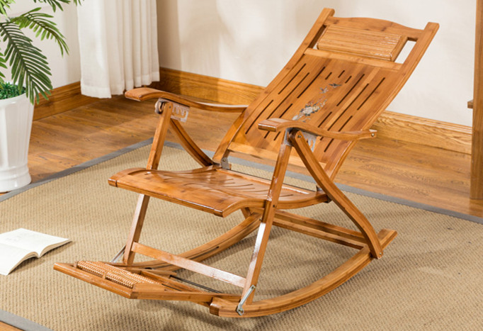 Folding Bamboo Chair Recliner Reclining Indoor/Outdoor Foldable ...