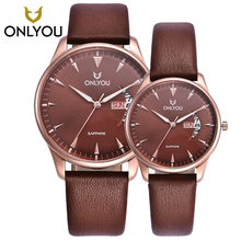 ONLYOU Fashion all steel all Coffee sapphire Week Display women Ultra thin ancistroid watch case Simple Couple lovers watch belt