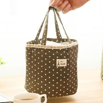 Cotten Hemp Portable Lunch Picnic Tote Bag Thermal Insulated Waterproof Bag with Wave Point tote bag