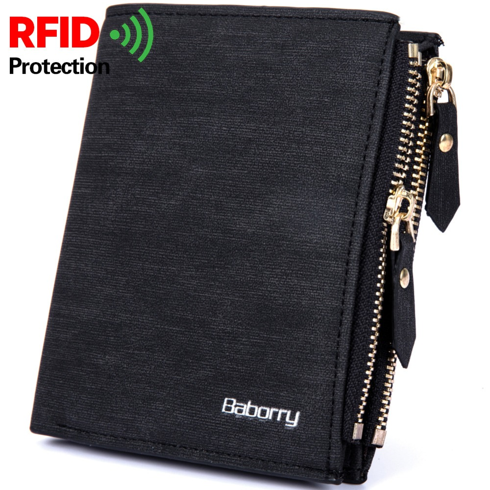 RFID Blocking Protection Anti-Theft Scan Men Male PU Leather Biflod Short Wallet Zipper Coin Case Pouch Casual Money Bag Pur