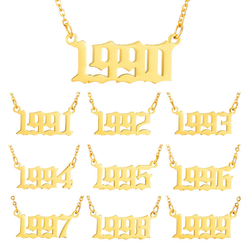 Personalized Year number gold necklace for Women girl Jewelry 1990 1991 1992 1993 1994 1995 1996 1997 1998 1999 Birthday Gift