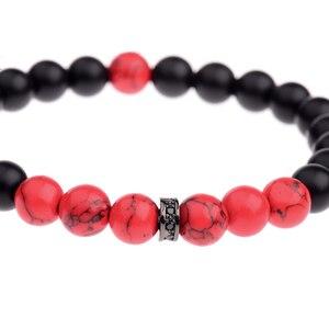 Image 5 - DOUVEI 8MM Black Matt&Red Beads Yinyang Bracelets For Women Trendy Bracelet Men With Black CZ Beads Prayer Jewelry AB656