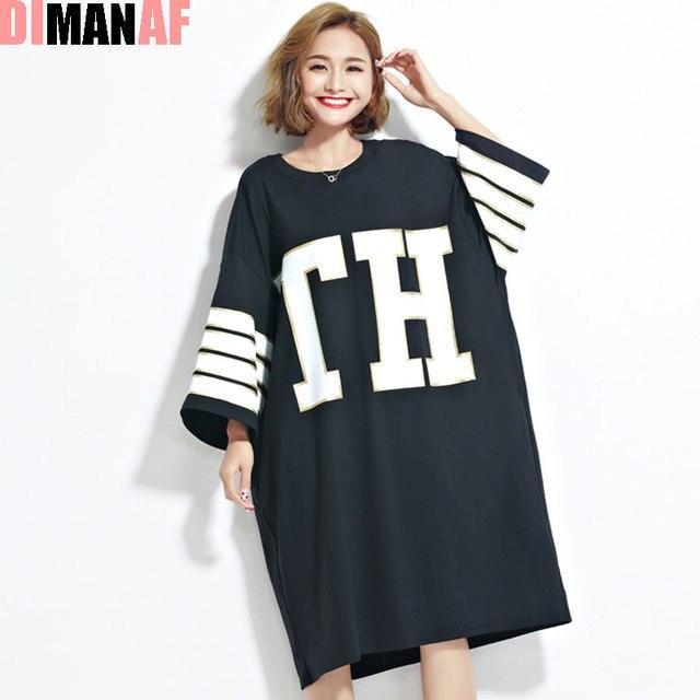 66453edcc22 DIMANAF Women Summer T-Shirt Plus Size Letter Printing Harajuku Loose  Cotton Tops Female Casual Fashion Large Size Big T-Shirt