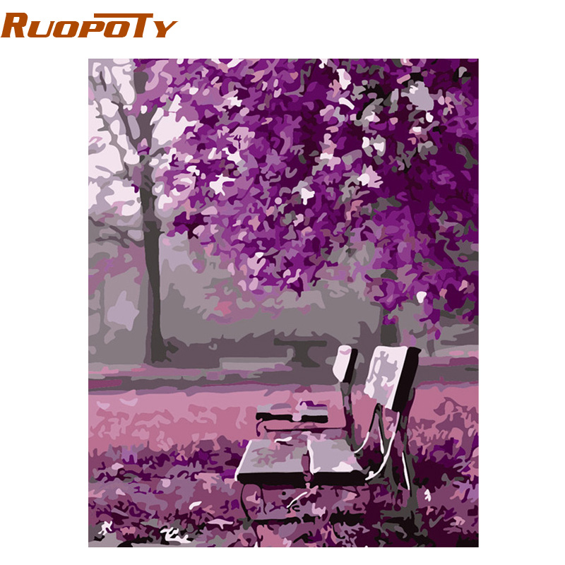 RUOPOTY Frame Purple Landscape Diy Painting By Numbers Handpainted Home Wall Art Decor Unique Gift For Wedding Decoration 40x50