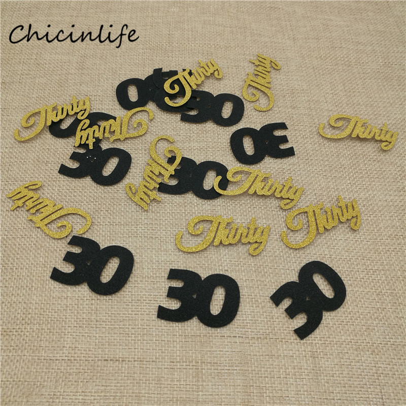 Chicinlife 1pack Black <font><b>30</b></font> Gold Thirty Paper <font><b>Confetti</b></font> Adult 30th Birthday anniversary Party Decoration Table <font><b>Confetti</b></font> image