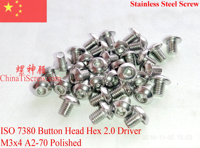 Stainless Steel screws M3x4 Button Head ISO 7380 Hex Driver A2-70 Polished ROHS 100 pcs stainless steel sems screws m3x8 pan head 1 phillips driver polished rohs
