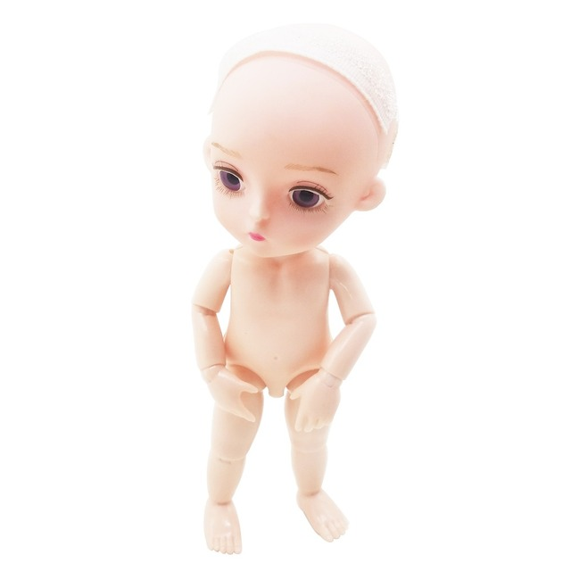 """EVA BJD SD Doll 1/8 Cute 15cm 5.9"""" No hair Naked or with dress jointed dolls PVC Soft Head Hard Body DIY Toy for Child Gift 5"""