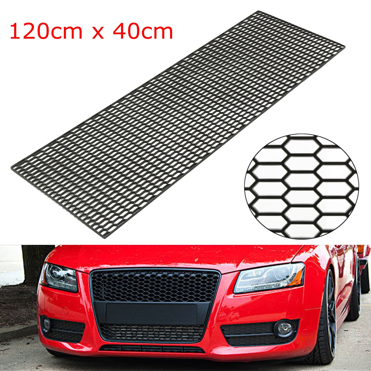 Universal Car Styling Grille Air Intake Racing Honeycomb Meshed Grill Spoiler Bumper Hood Vent 120cm ob 515 universal air flow vent hood covers for car silver pair