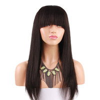 Italian Yaki Straight 180 Density Human Hair Full Lace Wigs For Black Women Brazilian Remy Hair Lace Wig With Bangs Wig Eseewigs
