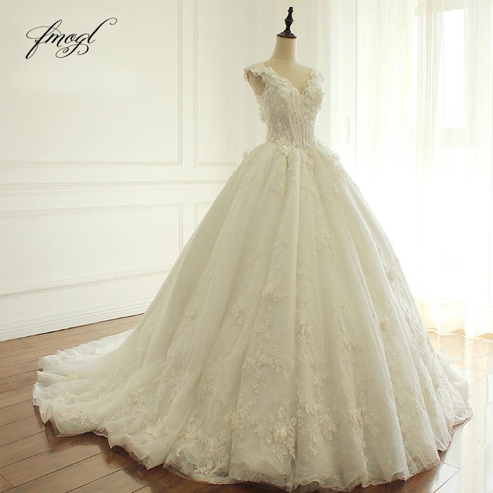 Fmogl Elegant Flowers Lace Princess Wedding Dress 2020 Beading Appliques Vintage Bride Dresses Robe De Mariage Plus Size
