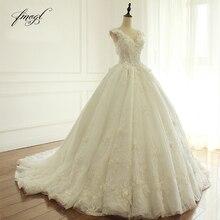Fmogl zarif çiçekler dantel prenses düğün elbisesi 2020 boncuk aplikler Vintage gelin elbiseler Robe De Mariage artı boyutu