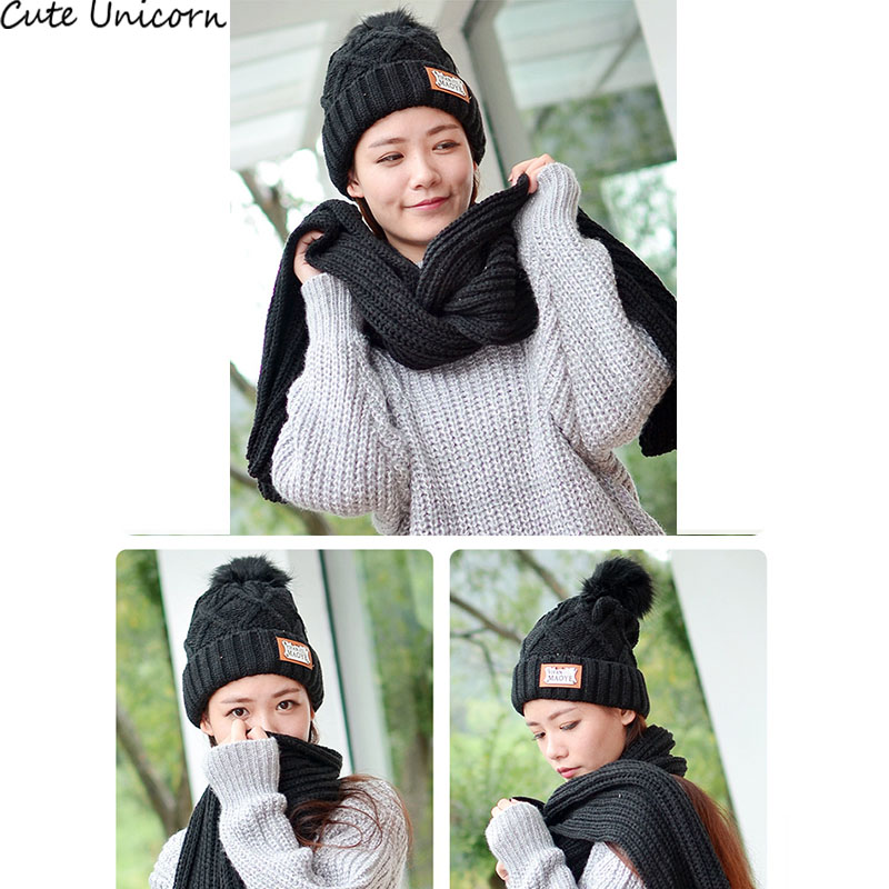 Christmas Gift women Hat long Scarf  neck warm 2 Set  Cap lady female Winter Fashion Hats for women 2 Pieces Sets