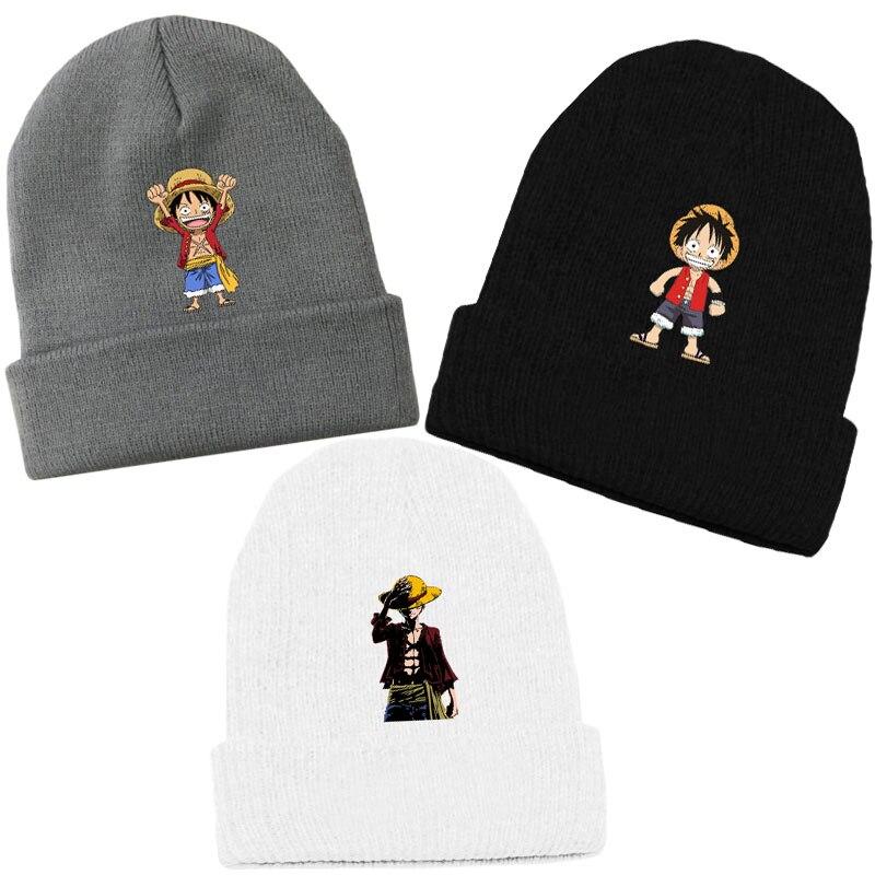 Trend Anime One Piece Monkey D Luffy Beanie Cotton Knitted Ski Skullies Women Hip-hop Baggy Cap Men Winter Cosplay Hat Warm Gift Limpid In Sight Men's Skullies & Beanies Men's Hats