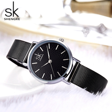 2019 New Watch Women Shengke Ladies Wristwatch Relogio Feminino Montre Simple Fashion Black Stainless Steel Mesh Band