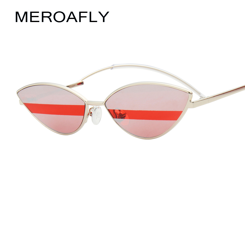 MEROAFLY 2019 Vintage Cat Eye Sunglasses Women Small Metal Eyewear UV400 Sun Glasses Female Red Pink Green Cateye Glasses Mirror